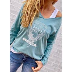 Dierenprint V-hals Lange Mouwen Casual T-shirts