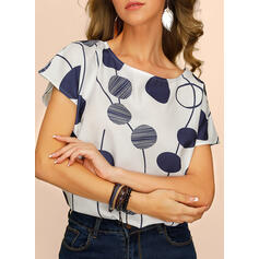 Print Round Neck Short Sleeves Casual Elegant Blouses
