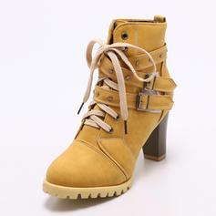 Femmes PU Talon bottier Escarpins Bout fermé Bottes avec Boucle Dentelle chaussures