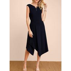 Jednolita Bez rękawów W kształcie litery A Przyjęcie/Elegancki Midi Sukienki