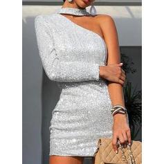 Jednolita Długie rękawy Bodycon Nad kolana Przyjęcie/Elegancki Sukienki