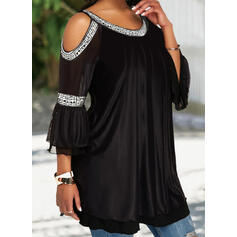 Solid Cold Shoulder 3/4 Sleeves Casual Elegant Plus Size Blouses