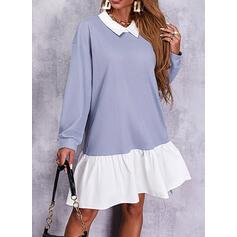Color Block Long Sleeves Dropped Shoulder Shift Knee Length Casual Sweatshirt Dresses