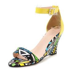 Mulheres PU Plataforma Sandálias Bombas com Fivela sapatos