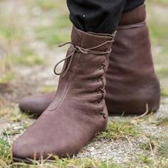 Femmes Similicuir Talon plat Chaussures plates Bottes avec Plissé chaussures