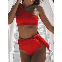 Solid Color High Waist One-Shoulder Elegant Classic Cute Bikinis Swimsuits
