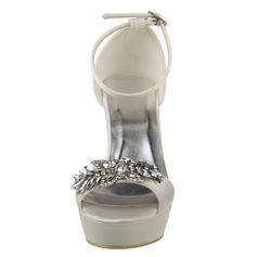 Frauen Satin Stöckel Absatz Absatzschuhe Sandalen mit Strass