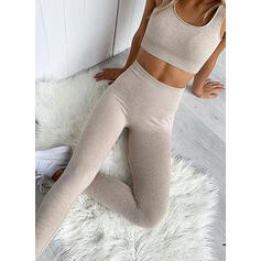 U-Neck Sleeveless Solid Color Sports Leggings Sports Bras