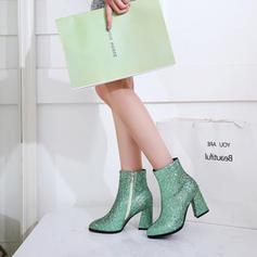 Шкіра Квадратні підбори Бокові черевики з Ігристі блискітки Блискавка взуття