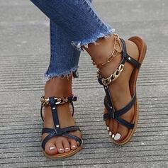 Bayanlar PU Düz topuk Sandalet Flats Peep Toe Ile Toka Oymak ayakkabı
