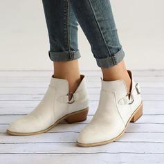Frauen PU Flascher Absatz Flache Schuhe Geschlossene Zehe Stiefel Stiefelette mit Schnalle Schuhe