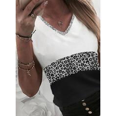 Blok Koloru lampart cekiny Dekolt w kształcie litery V Bez Rękawów Koszulki bez rękawów