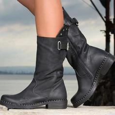 Femmes PU Talon plat Chaussures plates Bout fermé Bottes Bottes mi-mollets avec Boucle Zip chaussures