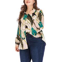 Print Lapel Long Sleeves Button Up Plus Size Shirt Blouses