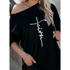 Print Figure One-Shoulder Long Sleeves Casual T-shirts
