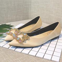 Femmes Satiné Talon plat Bout fermé Chaussures plates avec Cristal