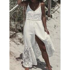 Solid Lace Sleeveless Shift Slip Vacation Maxi Dresses