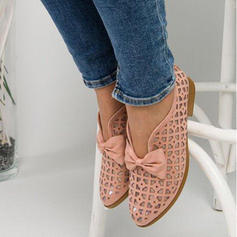 De mujer PU Tacón plano Planos con Bowknot Agujereado zapatos