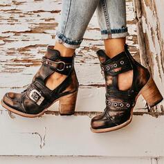 Frauen PU Stämmiger Absatz Absatzschuhe Geschlossene Zehe Stiefel Martin Stiefel mit Niete Schnalle Schuhe