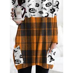 Print Grid Halloween Round Neck Long Sleeves Sweatshirt