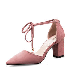 Women's Suede Chunky Heel Closed Toe Pumps Sandals With Bowknot Lace-up