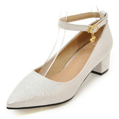Women's Leatherette Low Heel Pumps Closed Toe Mary Jane With Buckle shoes