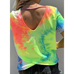 Tie Dye V-hals Korte Mouwen Casual Overhemd