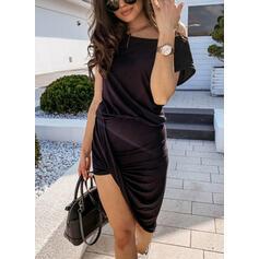 Solid Short Sleeves Sheath Asymmetrical Casual Dresses