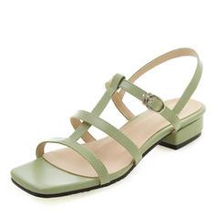 Femmes Cuir verni PU Talon bas Sandales À bout ouvert Escarpins avec Boucle chaussures