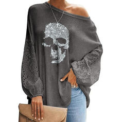 Print Hol-out One Shoulder Lange Mouwen Casual Overhemd