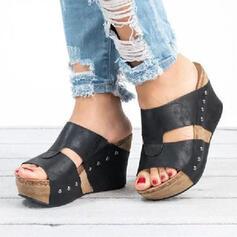 Vrouwen PU Wedge Heel Sandalen Peep Toe Slippers met Hol-out schoenen