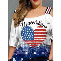 Print Heart Cold Shoulder 1/2 Sleeves Casual Plus Size Blouses