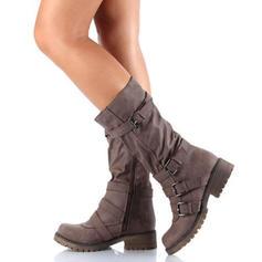 Kvinner Semsket Flat Hæl Flate sko Støvler Mid Leggen Støvler med Spenne sko