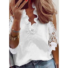 Solide Kant Cold Shoulder 3/4 Mouwen Casual Blouses