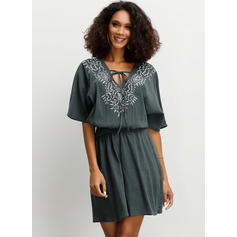 Embroidery 1/2 Sleeves A-line Above Knee Casual Dresses