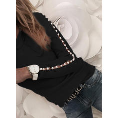 Solid Round Neck Long Sleeves Casual Elegant Knit Blouses