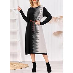 Print/Color Block Long Sleeves Shift Midi Casual/Elegant Dresses
