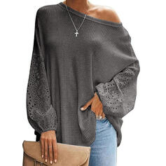 Solid Hollow-out Round Neck Long Sleeves Casual Elegant Knit Blouses