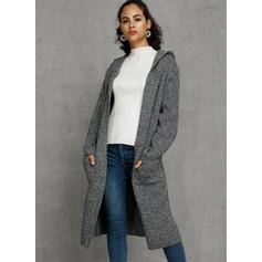 Solid Pocket Hooded Oversized Long Loose Cardigan