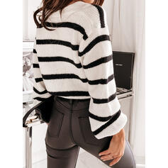 Striped V-Neck Casual Cardigan