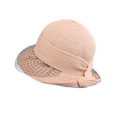 Ladies ' Enkle/Nice/Fancy Polyester med Tyl Strand / Sun Hatte
