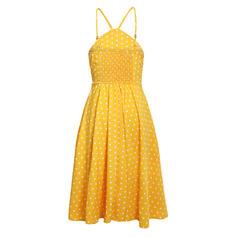 PolkaDot Halter Knee Length A-line Dress
