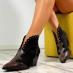 Dámské PU Široký podpatek Boty Kotníkové Boty S Nýt Přezka obuv