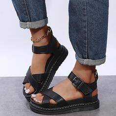 婦人向け PU フラットヒール サンダル プラットフォーム ピープトウ とともに バックル くり抜いた 靴