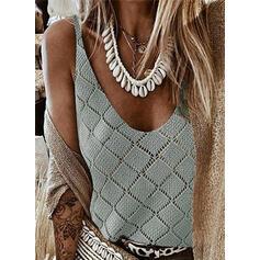 Solide V-hals Casual Vest/Mouwloos