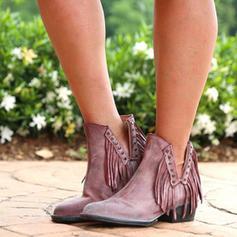 Dla kobiet PU Niski Obcas Czólenka Zakryte Palce Kozaki Z Frędzle obuwie