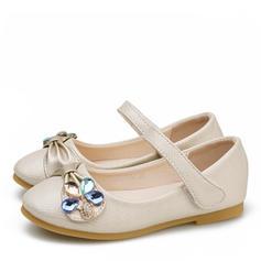Mädchens Leder Flache Ferse Round Toe Geschlossene Zehe Flache Schuhe Blumenmädchen Schuhe mit Klettverschluss Kristall