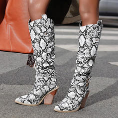 Women's PU Chunky Heel Knee High Boots With Animal Print shoes