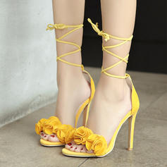 Women's Suede Stiletto Heel Sandals Pumps With Flower shoes