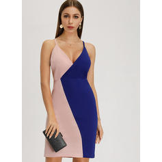 Color-block Sleeveless Sheath Above Knee Casual Dresses